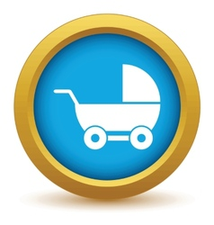 Gold baby carriage icon vector image