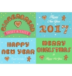 Happy new year 2017 merry christmas gingerbread vector