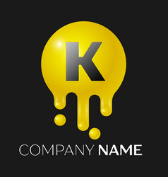 K letter splash logo yellow dots and bubbles vector