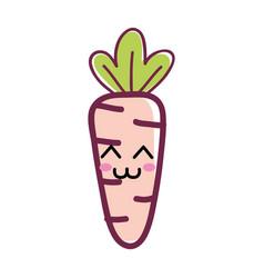 Kawaii happy carrot vegetable icon vector
