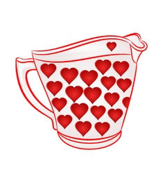Milk jug with red hearts part of porcelain vector