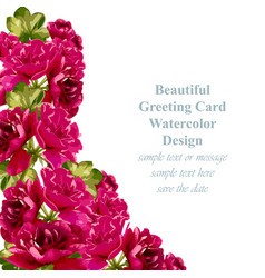 Red roses card delicate summer card vector