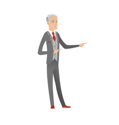 senior caucasian businessman pointing to the side vector image
