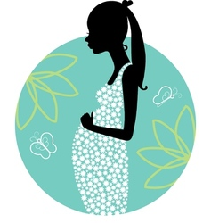 Silhouette of young pregnant woman vector image vector image