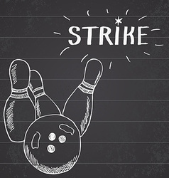 Sport bowling ball and pins Hand drawn sketch vector image vector image
