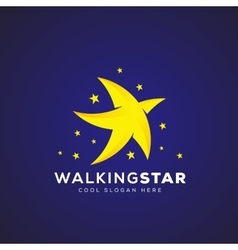 Walking Star Abstract Icon Symbol or Logo vector image
