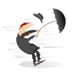 windy day and man with umbrella isolated vector image