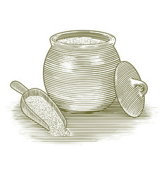 woodcut flour canister vector image vector image