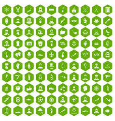 100 beard icons hexagon green vector