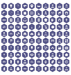 100 different professions icons hexagon purple vector