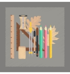 Flat shading style icon pencils pens ruler vector