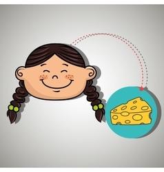 girl cheese food eat vector image