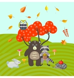 Forest animals on autumn meadow vector image