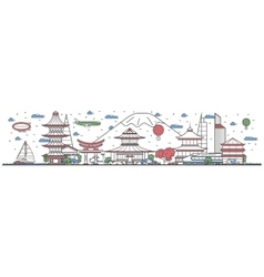 Travel in japan country line flat design banner vector