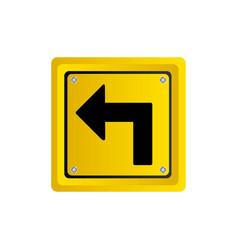 Metallic realistic yellow square frame turn left vector