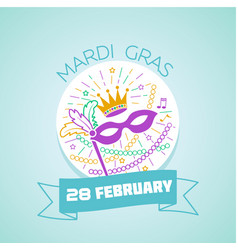 28 february mardi gras vector