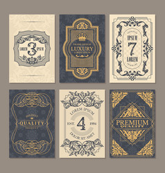 Calligraphic vintage floral cards collection vector