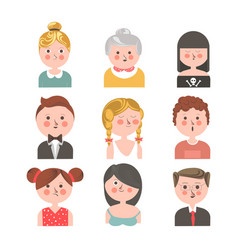 people of various ages portraits set on white vector image