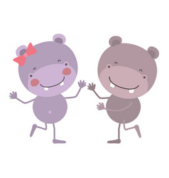 colorful caricature with couple of hippos dancing vector image