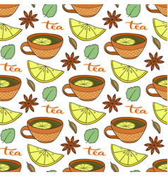 Seamless pattern with tea cups lemons and spicy vector