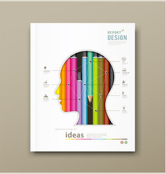 Cover Report head silhouette and colorful pencils vector image