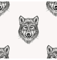 Sketch realistic face wolf seamless pattern hand vector