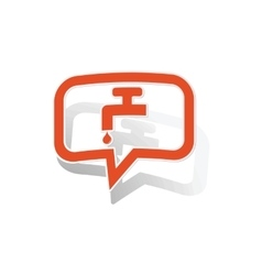 Water tap message sticker orange vector