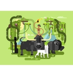 Character mowgli with animal vector