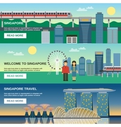 Singapore culture 3 flat banners set vector