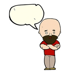 Cartoon shocked bald man with beard with speech vector
