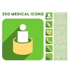 Patient isolation icon and medical longshadow icon vector
