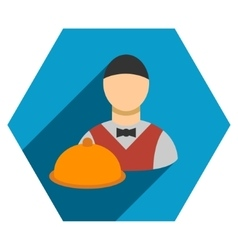 Waiter flat hexagon icon with long shadow vector