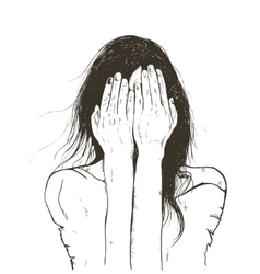 woman crying sad vector image