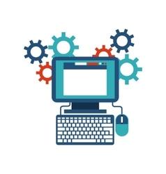Computer gears website icon media design vector