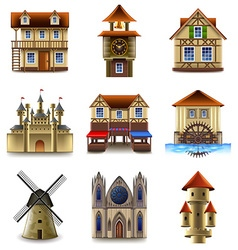 Medieval buildings icons set vector