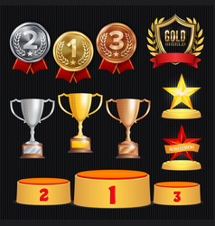 award trophies set achievement for 1st vector image