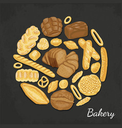 background with colored bakery products vector image vector image