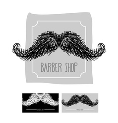 Barber shop logo emblem with a mustache se vector