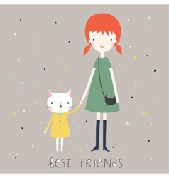 Best friends background or card vector image vector image