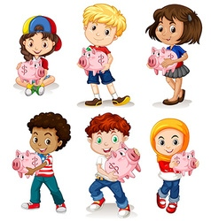 Boys and girls holding piggy bank vector image vector image