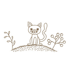 Brown contour graphic of cat in hill with plants vector