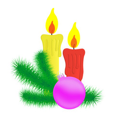 candles and christmas branch vector image