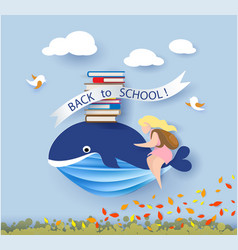 card with kids sitting on whale flying on blue sky vector image vector image