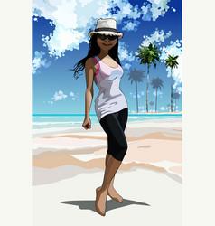 Cartoon happy girl standing on tropical coast vector