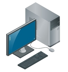 Computer Case with Monitor Keyboard and Mouse vector image vector image