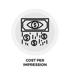 Cost per impression line icon vector
