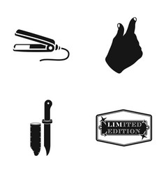 Curl for hair hand gesture and other web icon in vector