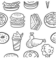 Doodle of element food various vector