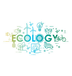 Ecology lifestyle green energy recycle icons vector