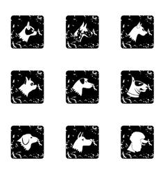 Faithful friend dog icons set grunge style vector